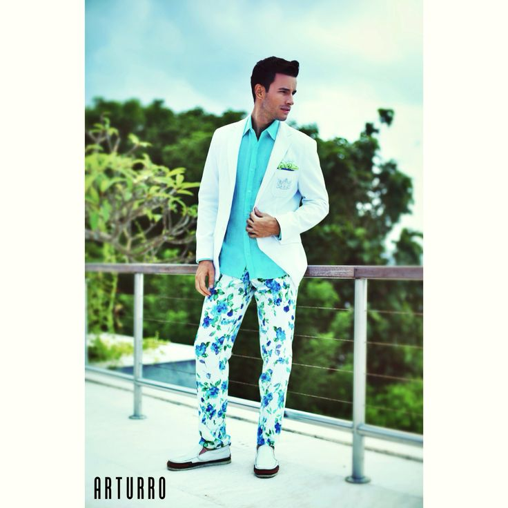 ARTURRO Men's Collection-White Jacket-Blue Flowery Pants & Turquoise Linen Shirt Available at ARTURRO Boutique Jl. Kayu Aya no 18 Bali Indonesia, #arturroeggo #resortwear #bali #mensfashion #smartcasual #jacket #shirt #printedpants #resort #man #cool #boys