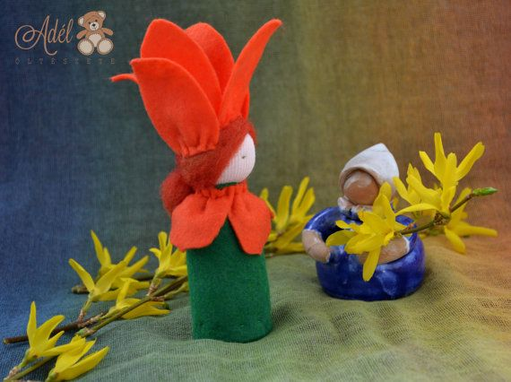 Little Tulip - Waldorf inspired flower child for spring nature table