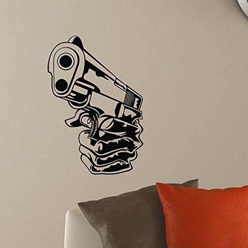 Wall decal vinyl sticker gun handgun weapon military decor sb439 elegantwalldecals http www