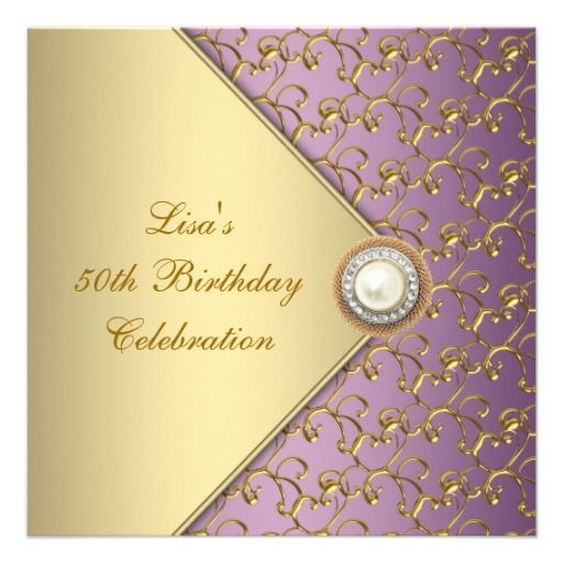 22 best invitations for 50th birthday party images on pinterest elegant purple and gold womans 50th birthday party card filmwisefo