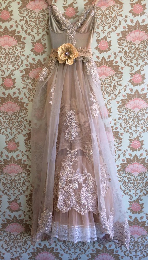 taupe & blush organza chiffon appliqué  boho princess wedding dress by mermaid miss k