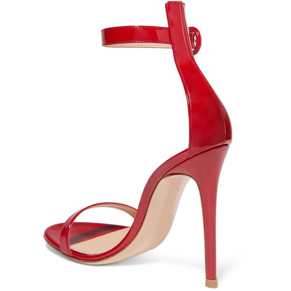 Gianvito Rossi Portofino patent-leather sandals ($710) ❤ liked on Polyvore featuring shoes, sandals, strappy sandals, red shoes, red strappy sandals, strappy high heel sandals and red high heel sandals