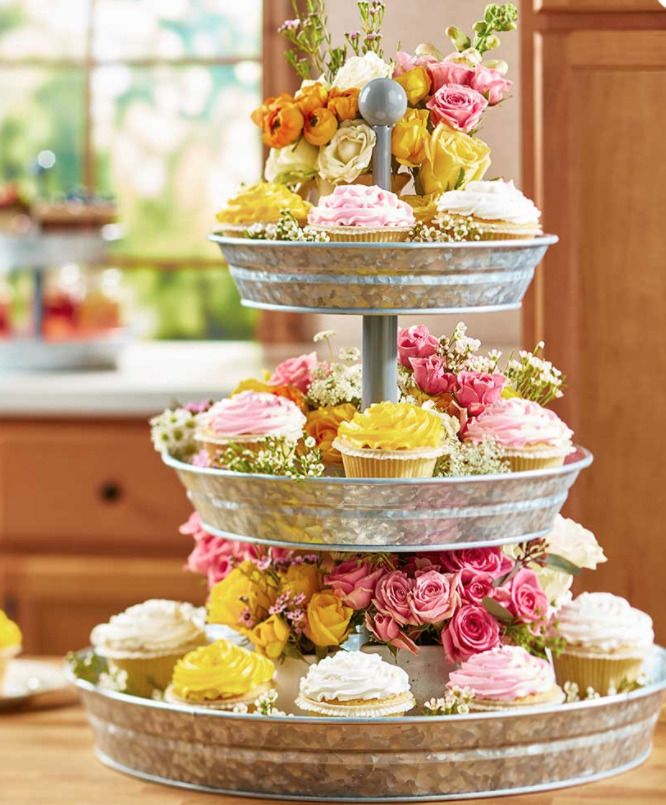Party Serving Cupcake Tower Galvanized Triple Level Buffet Picnic Chips Server Home Garden Kitchen Tiered Tray Decor Galvanized Serving Trays Tiered Tray