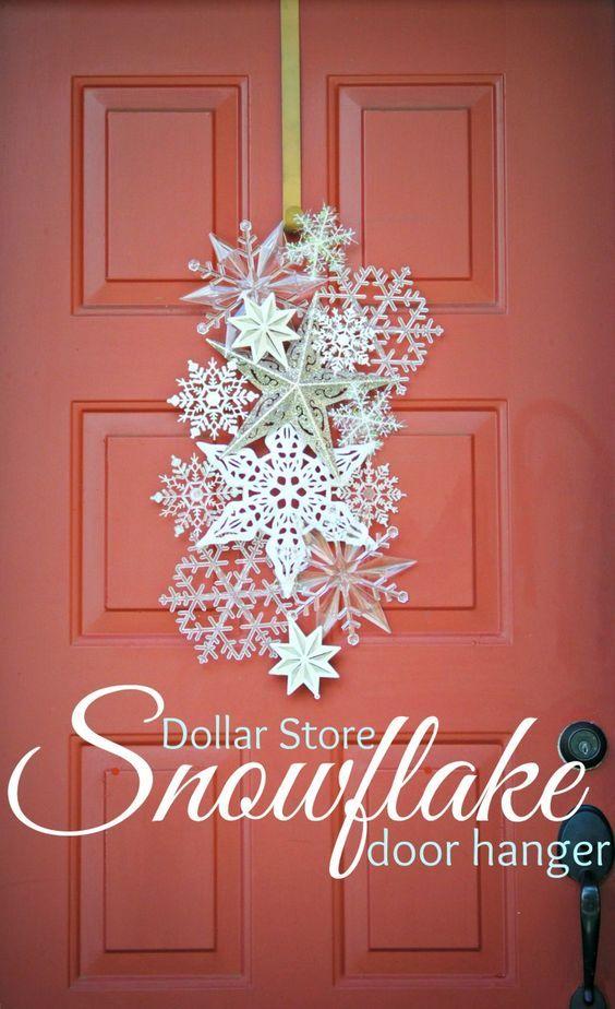 Dollar Store Snowflake Door Hanger.