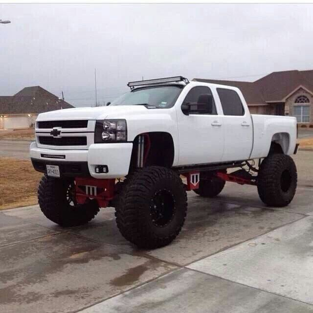 jacked up white chevy trucks - photo #25