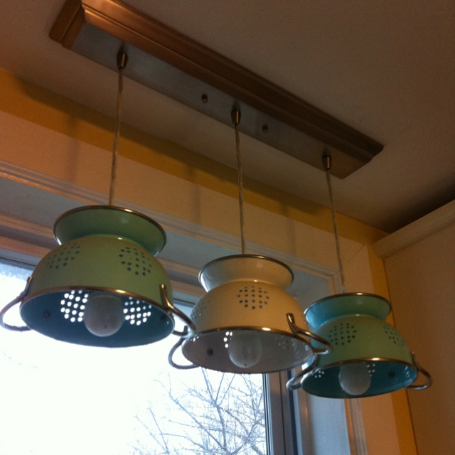 Diy Kitchen Light Fixtures Part 2: Colander Pendant Lights. Found The Colanders At TJMaxx