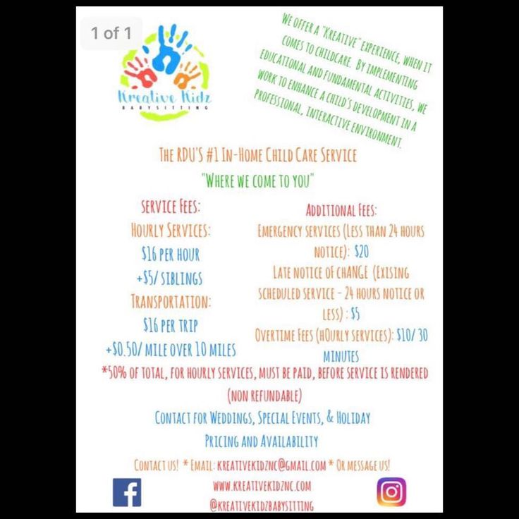 Happy Sunday Parents! Beginning tomorrow Monday October 9th our services will begin operating according to our updated price list! This price list is for our services that are rendered in your home and our transportation services. If you may have any inquiries please email us at kreativekidznc@gmail.com or message us! We look forward to meeting ALL of your childcare needs!! #RDUChildcare #childtransport #RDU #Babysitting #Transportation #Play #LearningThroughPlay #Development #Reliable…