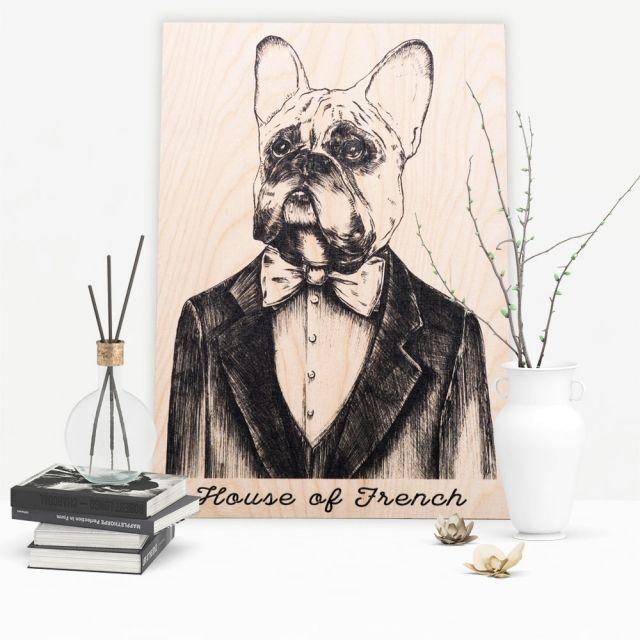 Buldog Francuski - 40 x 30 cm Plakat na drewnie