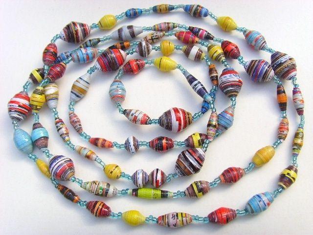 Fabriquer des colliers de perles en papier recyclé                                                                                                                                                                                 Plus