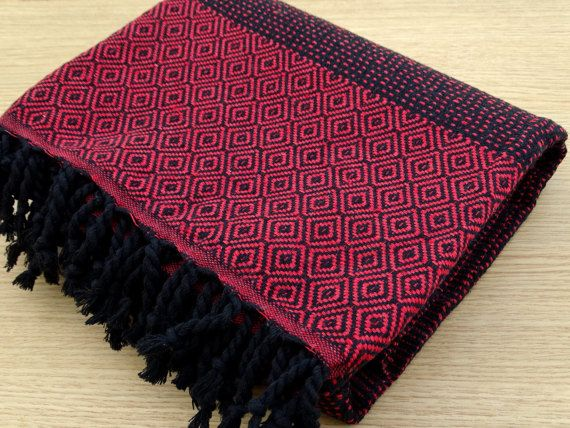 Red and black colour Turkish diamond patterned soft cotton