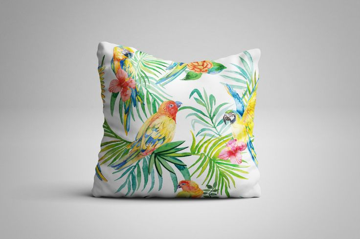Tropical Birds Cushion. 12 x 12 inch Cushion by NJsBoutiqueCo on Etsy