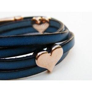 Blue Double-Wrap Hearts TooLittle Bracelet #leather bracelet