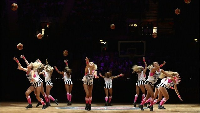 The Red Foxes dance team performs during the men's Basketball preliminary round match between Australia and Great Britain on Day 8 of the London 2012 Olympic Games at the Basketball Arena on 4 August.