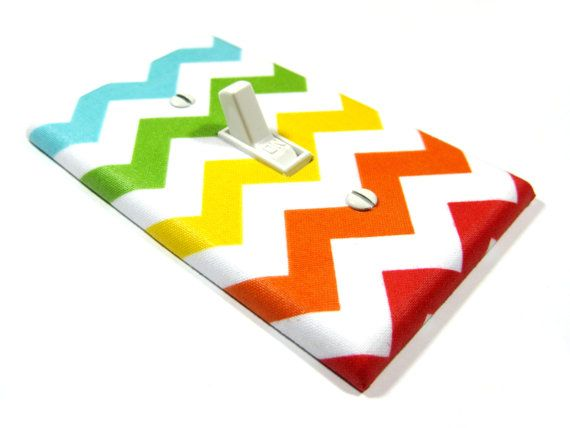 Bold Rainbow Chevron Blake Light Switch Cover Kids Room Decor Bedroom Wall Art Decoration Zig Zag 1116. $8.00, via Etsy.