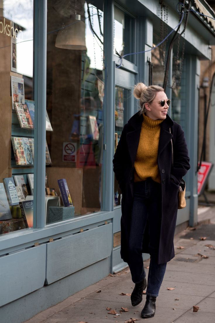 Everyday Style | mediamarmalade outfit inspo | massimo duti jumper, whistles coat, and other stories jeans, and other stories boots