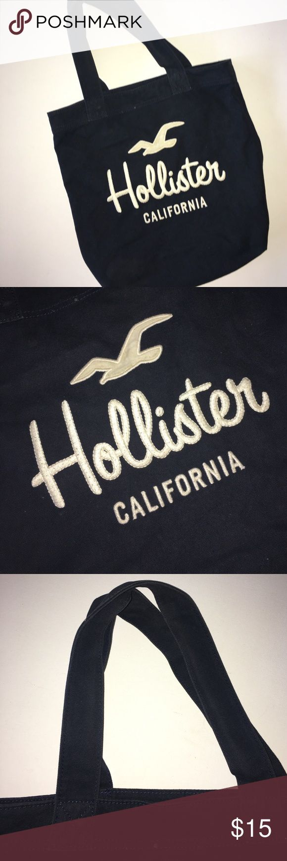 Hollister Tote Bag Stylish dark blue Hollister Tote bag. Use a a school bag, gym bag, overnight bag. In great condition! Hollister Bags Totes
