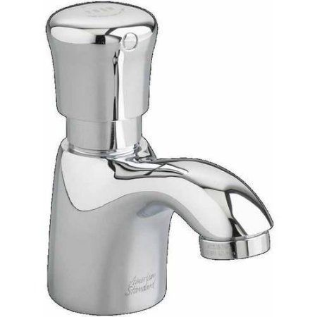 American Standard 1340M.107.002 0.5 GPM Pillar Tap Metering Faucet with Mechanical Mixing Valve, Chrome, Clear