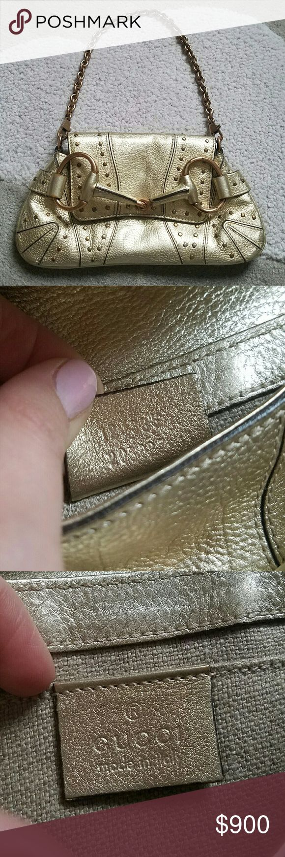 "GUCCI calfskin studded horsebit gold clutch bag Gorgeous gold GUCCI clutch with removable chain. Studded, but some of studs have become slightly discolored (barely noticeable). Shows signs of wear, all noted in pictures - see additional listing for more pictures of damage. Inside in excellent condition. No holes or tears. No box or dustbag.  8.5""x4.5"" Chain 7"" from top to bag Gucci Bags Clutches & Wristlets"