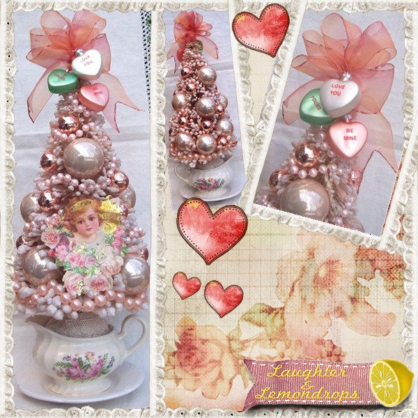 victorian valentine tree-romantic - what a great idea for tea cup sets!