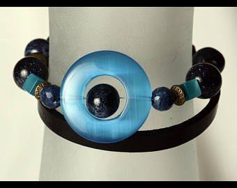 Bracelt wrap 2 tours bleu et cuir noir véritable