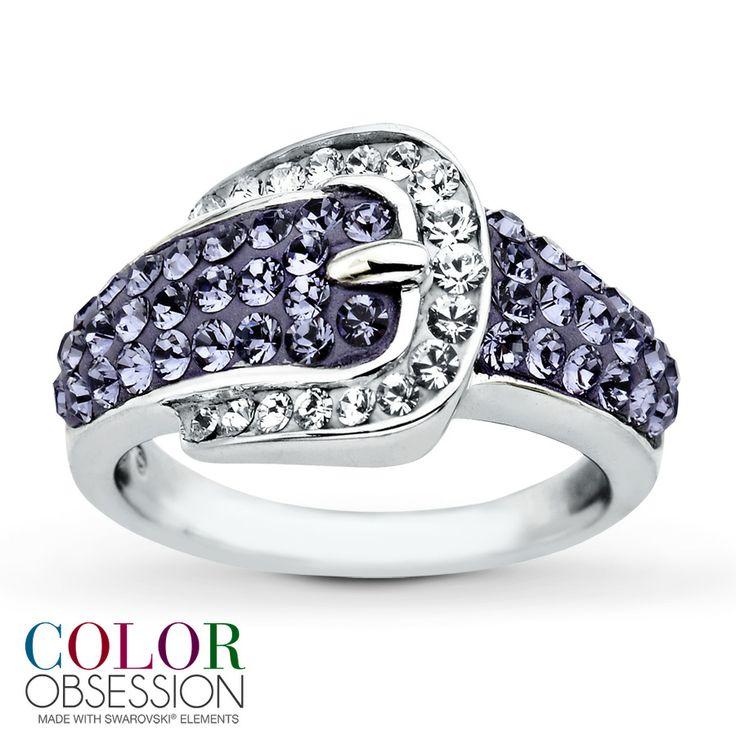 belt buckle ring purple swarovski elements sterling silver
