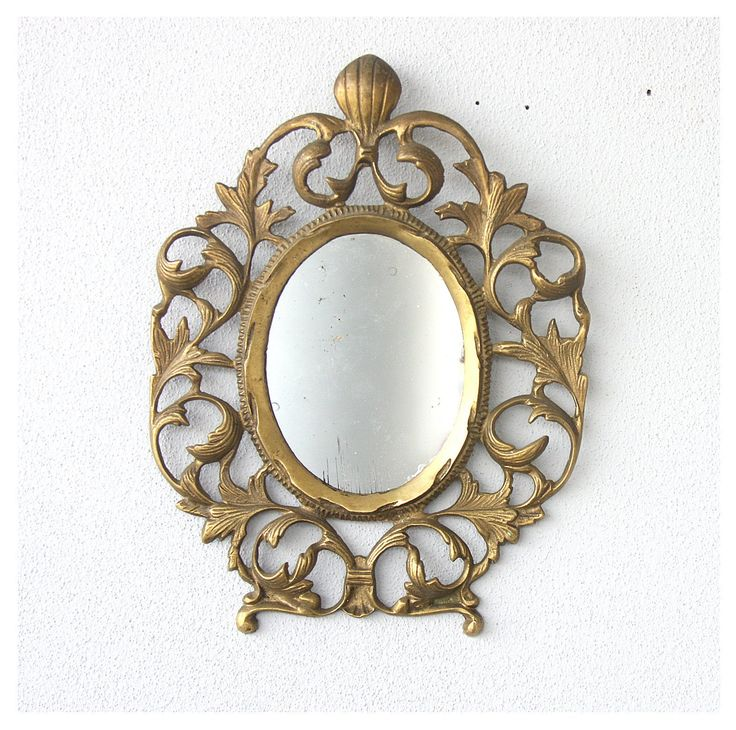 Vintage Brass Wall Mirror Ornate, Vintage Brass Mirror Wall Hanging