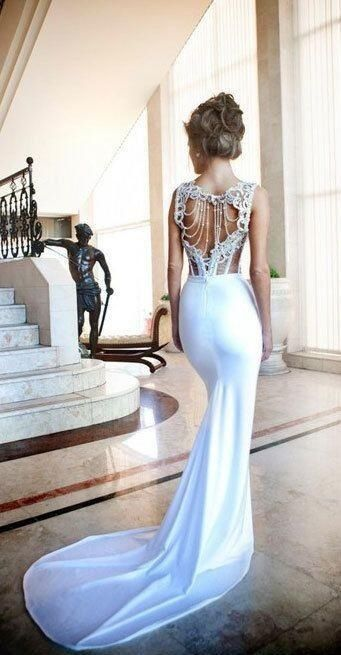 beaded back wedding dress