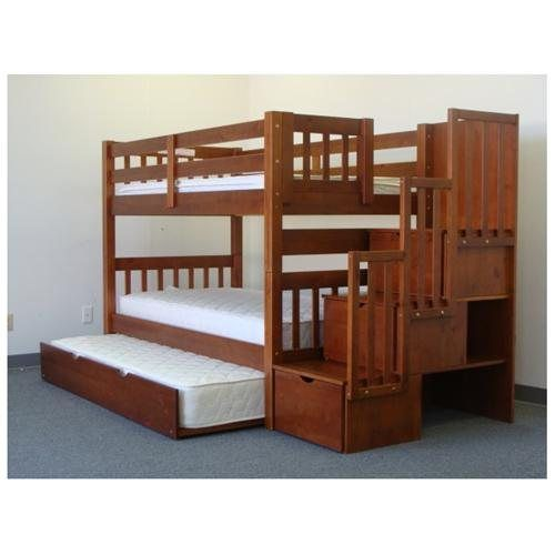 Stairway bunk bed twin over twin in expresso with 3 drawers built in to the steps and a twin - Bunk bed with drawer steps ...