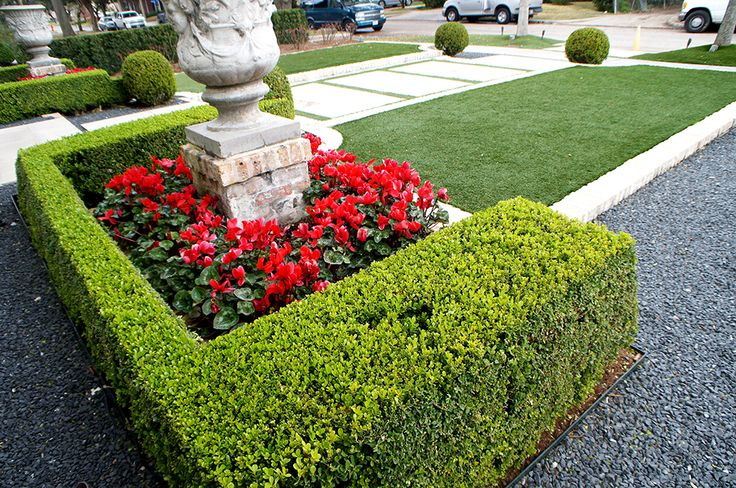 Close up of home front detail. Sharply trimmed boxwood hedges frame color beds of Cyclamen which accent mirrored sculpted planters. White brick separates the articial lawn from borders of blackstar gravel.