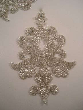 Large Classic Design Crystal and Rhinestone Beaded Applique--One Piece. $14.88, via Etsy.