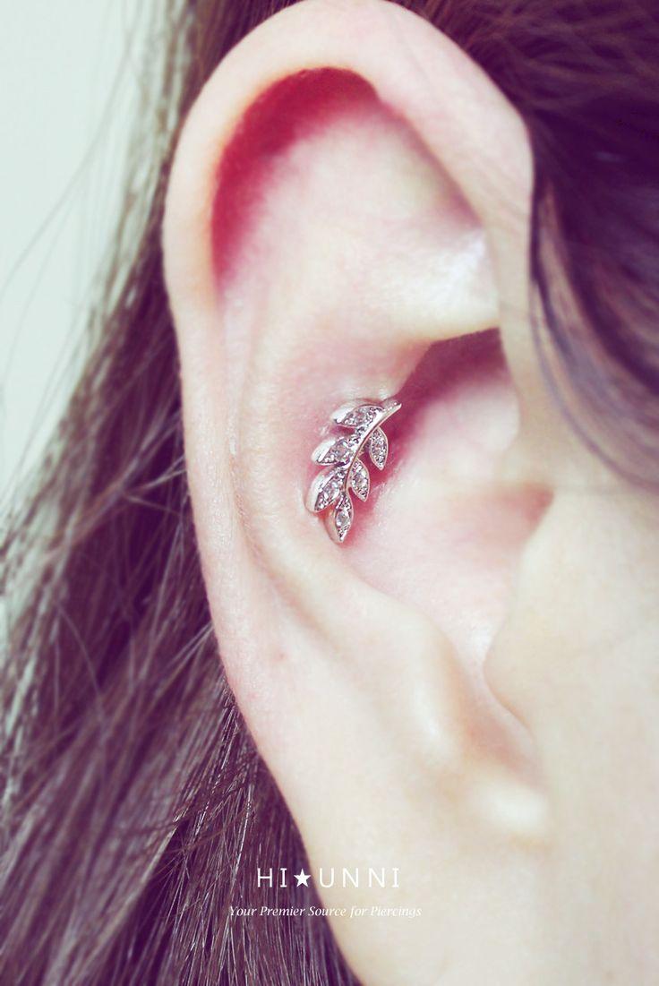 Leaf Cartilage Earring, Cz Stud Earrings, Helix Conch Tragus Ear Piercing  Jewelry, Surgical Steel, Single Earring, Sold As 1 Piece