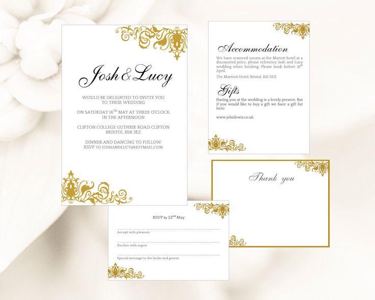 189 best Printable Wedding Invitations images on Pinterest - microsoft word template invitation