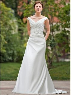 A-Line/Princess Off-the-Shoulder Chapel Train Ruffle Lace Up Cap Straps Sleeveless Garden / Outdoor General Plus No Winter Spring Fall Ivory Satin Wedding Dress