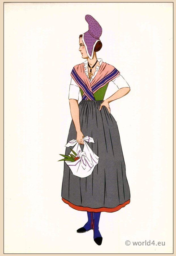 French national costumes. Woman from Pays de Caux Normandy
