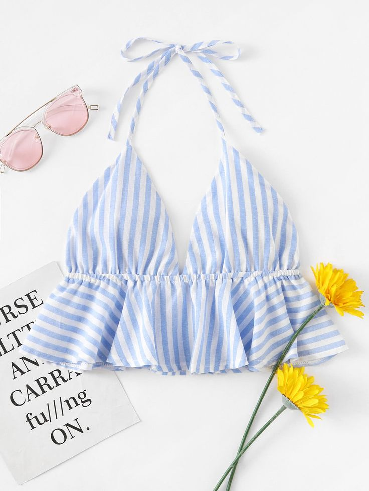 Shop Striped Frill Hem Open Back Crop Halter Top online. SheIn offers Striped Frill Hem Open Back Crop Halter Top & more to fit your fashionable needs.