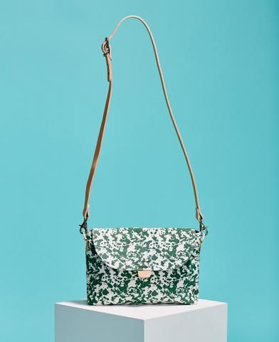 Kate Sheridan abstract print green and white cotton and leather crossbody bag from The Cycling Store