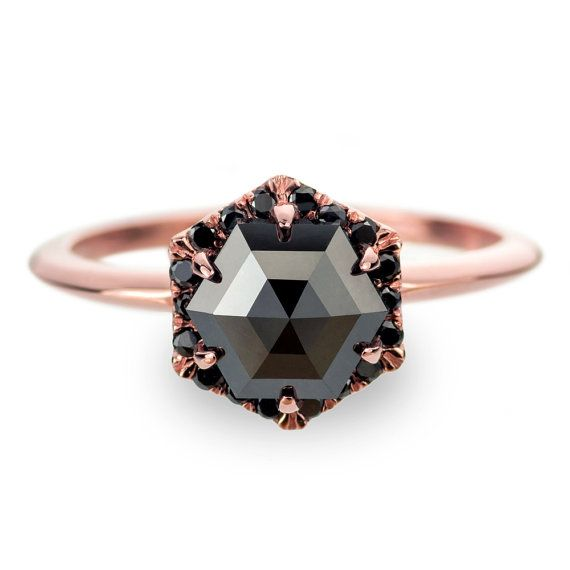 Black Diamond Rose Gold Engagement Ring by PointNoPointStudio [spotlight halo]