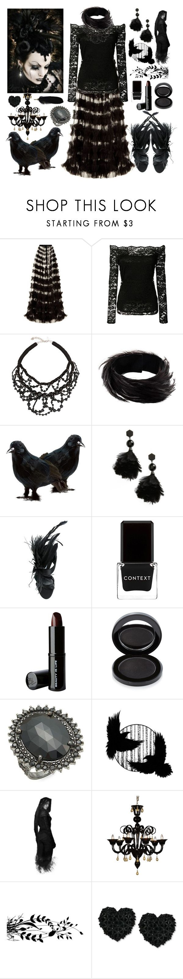"""Morrigan-Inspired Witch"" by sarina-noel ❤ liked on Polyvore featuring Rachel Gilbert, L'Agence, Megan Park, Dries Van Noten, Tory Burch, Prada, Context, Beauty Is Life, Lipstick Queen and Bavna"
