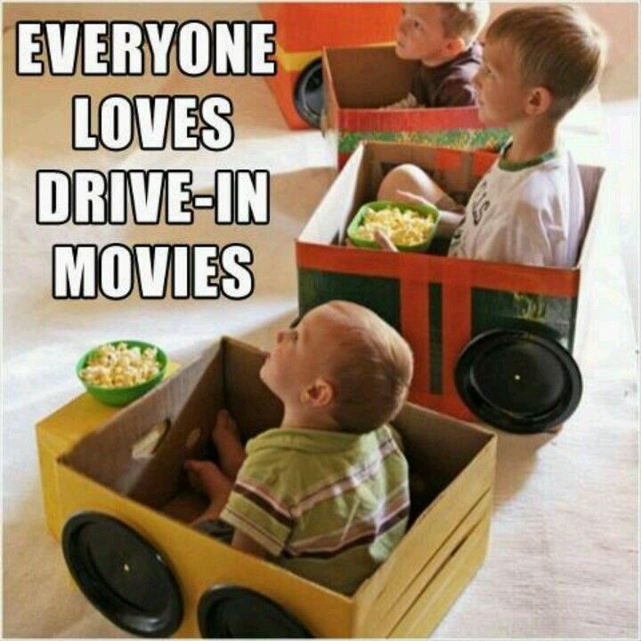 Home made drive-in. Great idea when babysitting