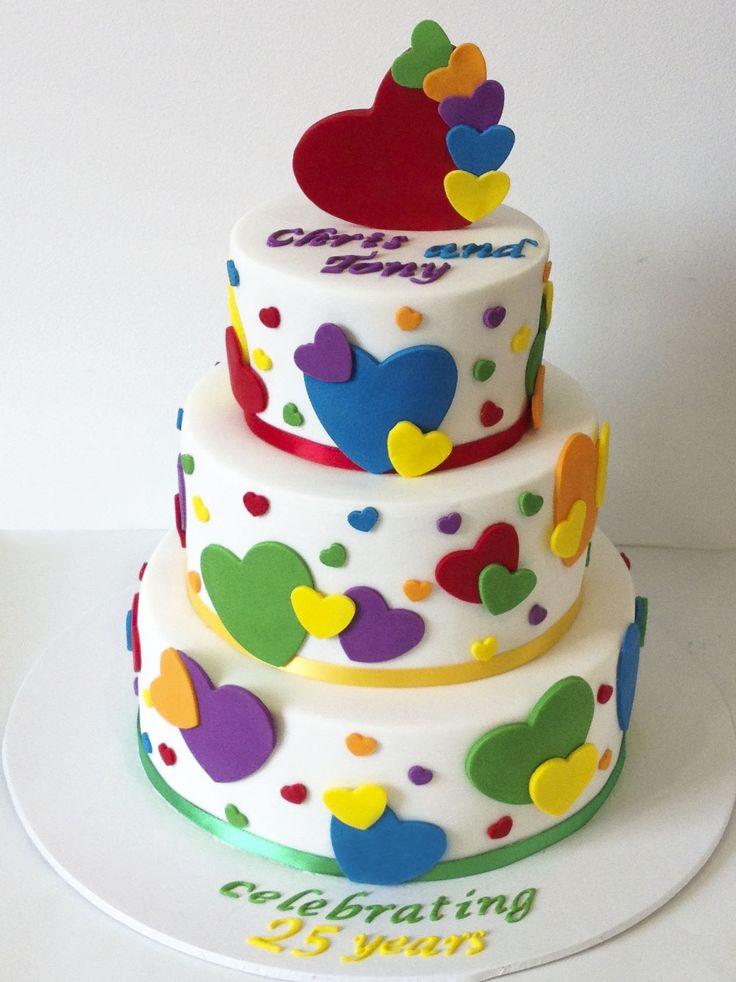 Funky Hearts Cake Like us at www.facebook.com/melianndesigns