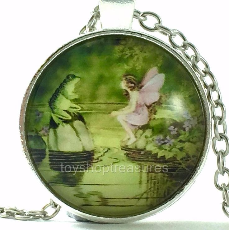 New Fairy with Frog Necklace Fairy and Frog Pendant - Silver bf