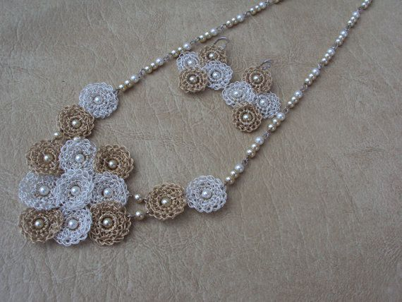 Gentle.Crochet Necklace Set.Custom Jewelry. Lace by TaLaTwists,