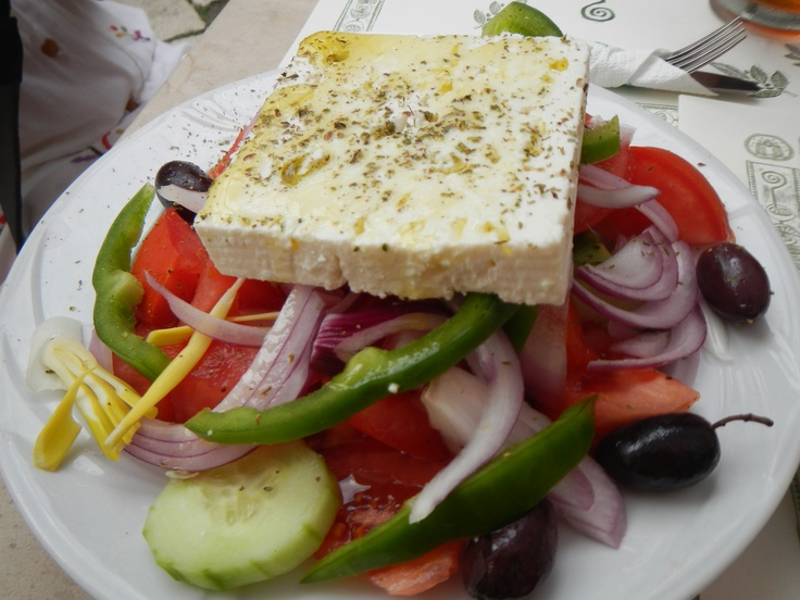 The best Greek Salad in the world at a little cafe in Old Town on Corfu.