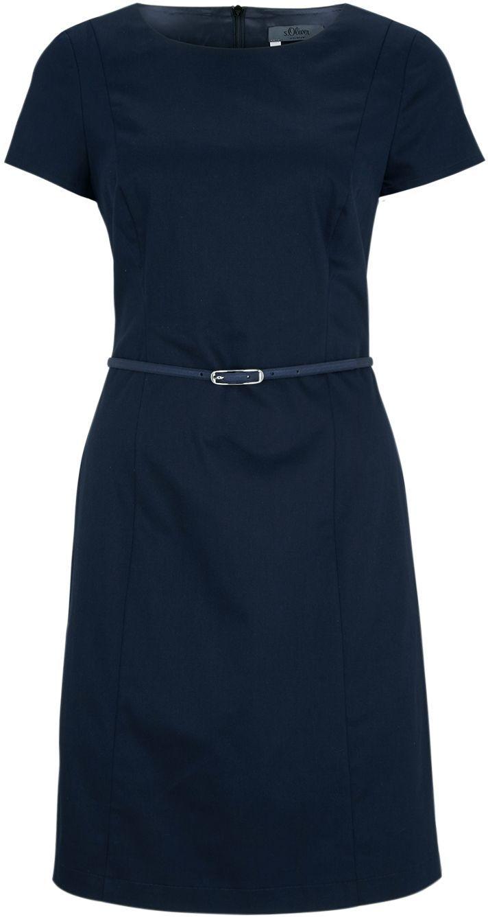 Kleid mit Gürtel aus Baumwollsatin von S.OLIVER PREMIUM bei ABOUT YOU