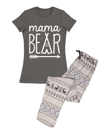 Charcoal Mama Bear Pajama Set Women Zulily