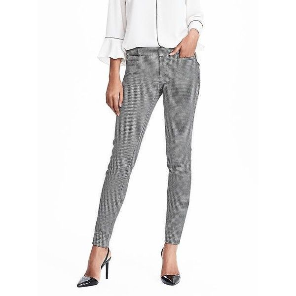 Banana Republic Womens Sloan Fit Houndstooth Ankle Pant ($98) ❤ liked on Polyvore featuring pants, capris, black and white, short pants, petite ankle pants, houndstooth pants, petite ankle jeans and petite pants