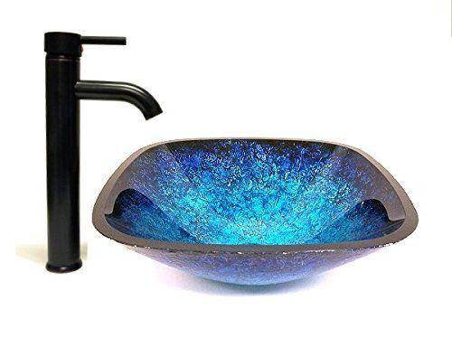 Alpha Plus 16 Square Blue Hand Paint Tempered Glass Vessel Sink Oil Rubbed Bronze Faucet