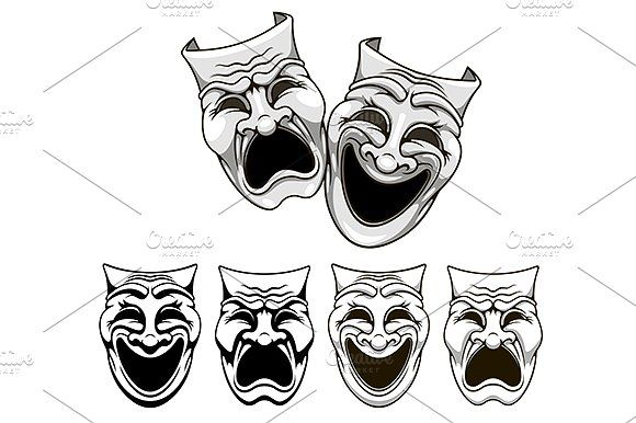 Tragedy and comedy theater masks by Vector Tradition SM on @creativemarket