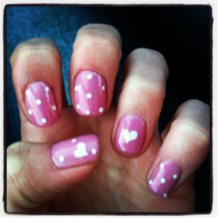 pink with white dots and hearts