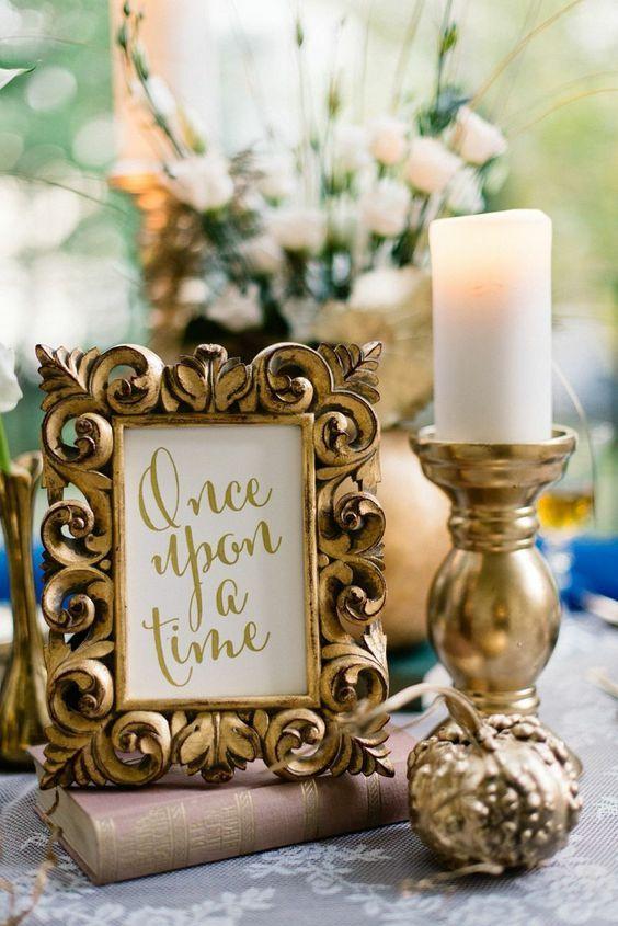 Fairy tale vintage gold wedding centerpiece / http://www.deerpearlflowers.com/wedding-ideas-using-candles/2/